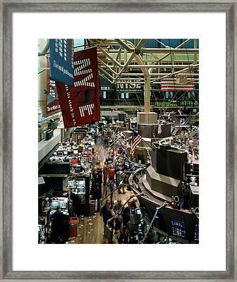 Trading Floor Of The New York Stock Framed Print by Everett