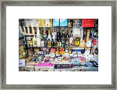 Traditional Spanish Deli Food Shop Display In Santiago De Compos Framed Print