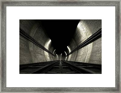 Train Tracks And Tunnel Framed Print by Allan Swart