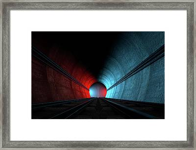 Train Tracks And Tunnel Split Choices Framed Print