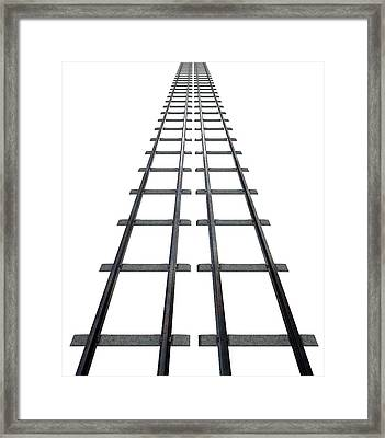 Train Tracks Isolated Framed Print