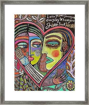 Tree Of Life Heart Lovers Framed Print by Sandra Silberzweig