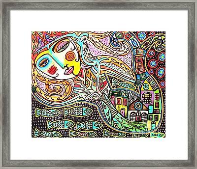 Tree Of Life Village Mermaid Framed Print