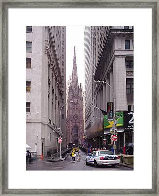 Trinity Church From Wall Street Framed Print