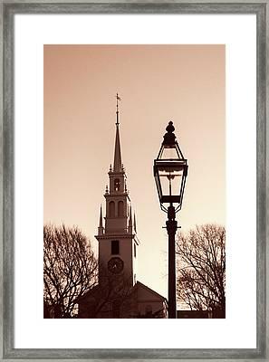 Trinity Church Newport With Lamp Framed Print by Nancy De Flon