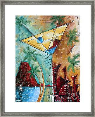 Tropical Martini Original Painting Fun Pop Art Style By Megan Duncanson Framed Print