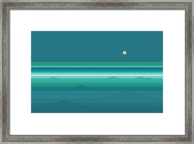 Framed Print featuring the digital art Tropical Sea Moonrise by Val Arie