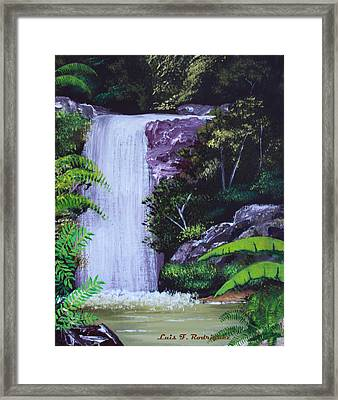 Tropical Waterfall Framed Print by Luis F Rodriguez