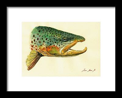 Trout Watercolor Framed Prints