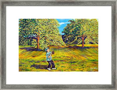 Trying Out The New Baseball Glove Framed Print by Celine Philibert