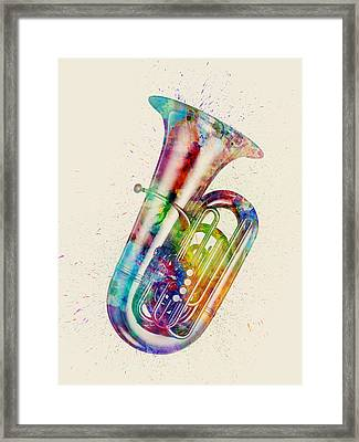 Tuba Abstract Watercolor Framed Print by Michael Tompsett