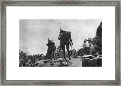 Turkish Trench Overlooking The Anzac Cove Beach Framed Print