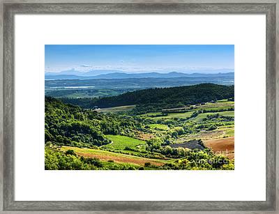 Tuscany Landscape At Sunset Framed Print