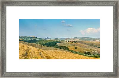 Tuscany Landscape With Rolling Hills At Sunset, Val D'orcia, Ita Framed Print by JR Photography