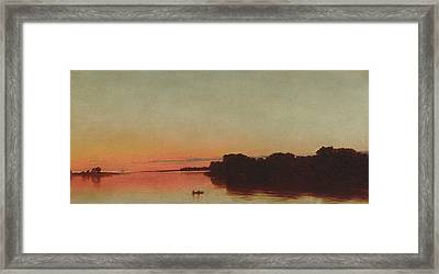 Twilight On The Sound, Darien, Connecticut Framed Print by John Frederick Kensett