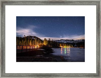 Twin Lakes At Night Framed Print by Cat Connor