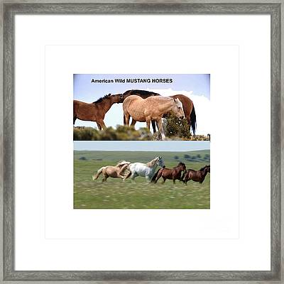 Twin Photos Awesome North American Mustangs Horses Cowboys Photography See On Posters Pillows Curtai Framed Print by Navin Joshi