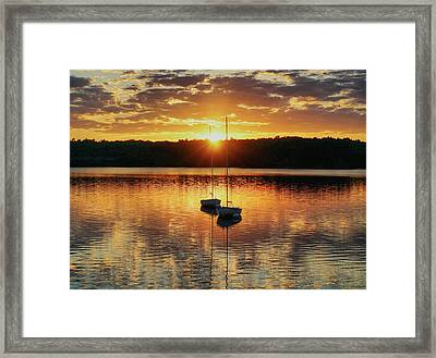 Two Boats At Sunset Framed Print by Lilia D