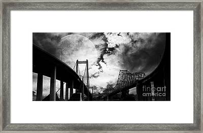 Two Bridges One Moon Framed Print by Wingsdomain Art and Photography