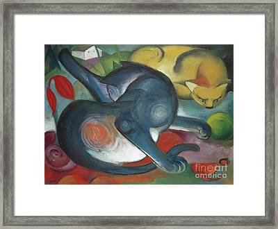 Two Cats, Blue And Yellow, 1912 Framed Print
