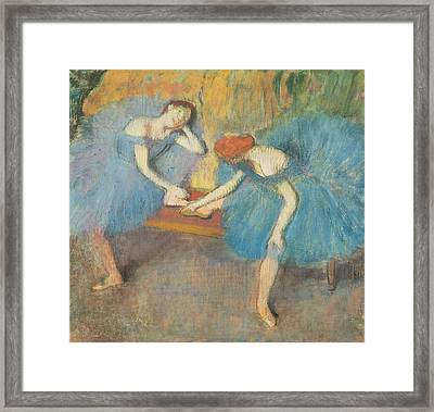 Two Dancers At Rest Framed Print by Edgar Degas