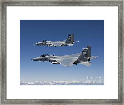 Two F-15 Eagles Conduct Air-to-air Framed Print by HIGH-G Productions