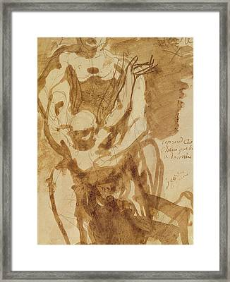 Two Figures Framed Print by Auguste Rodin