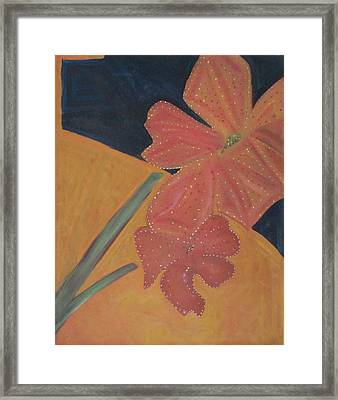 Framed Print featuring the painting Two Flowers by Patricia Cleasby