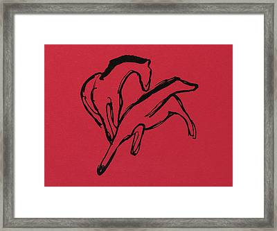 Two Horses Framed Print by Franz Marc