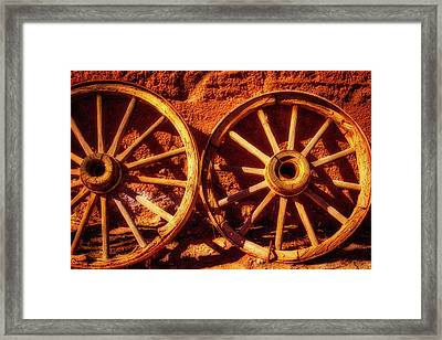 Two Old Wagon Wheels Framed Print by Garry Gay
