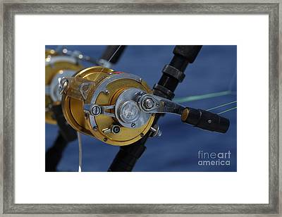 Two Rod And Reels On Board A Game Fishing Boat In The Mediterranean Sea Framed Print by Sami Sarkis