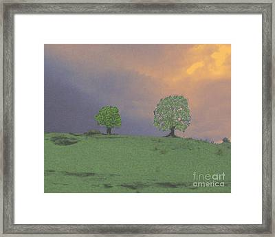 Two Trees On A Hill Framed Print by Merton Allen