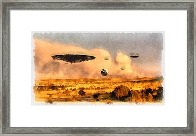 Ufo Armada Framed Print by Esoterica Art Agency