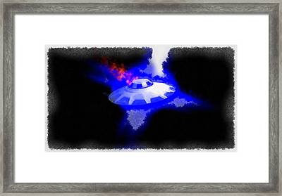 Ufo Blue In Flames Framed Print by Esoterica Art Agency