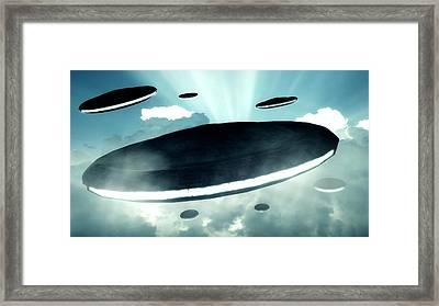 Ufo Invasion Force Framed Print by Raphael Terra