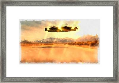 Ufo Over Highway Framed Print by Esoterica Art Agency