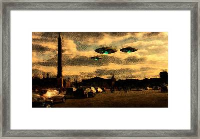Ufo Over Paris Framed Print by Raphael Terra