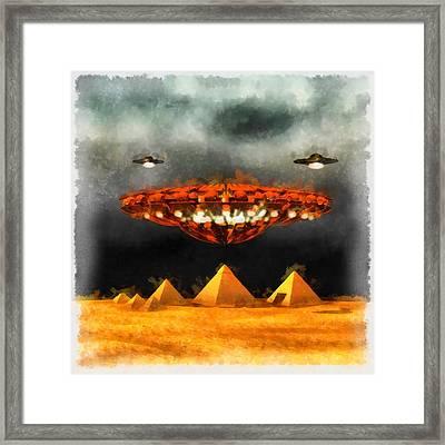 Ufos Over Pyramids Framed Print by Esoterica Art Agency