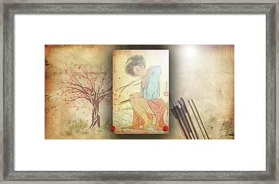 Framed Print featuring the digital art Ukyo-e Soul by Baroquen Krafts