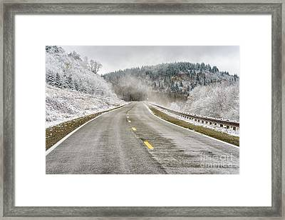 Framed Print featuring the photograph Unexpected Autumn Snow Highland Scenic Highway by Thomas R Fletcher