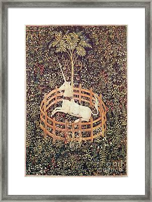 Unicorn Tapestry Framed Print by Lionel F Stevenson