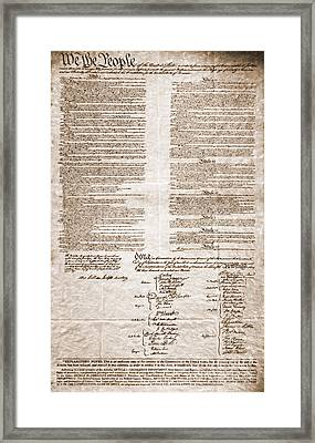 United States Constitution Framed Print by Photo Researchers