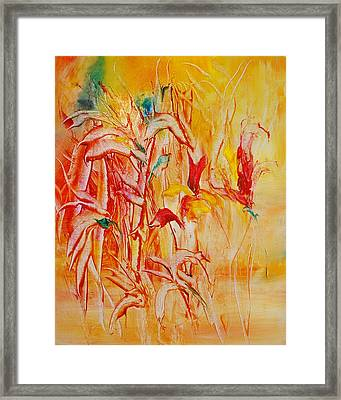 Untitled Red Framed Print by Larry Ney  II