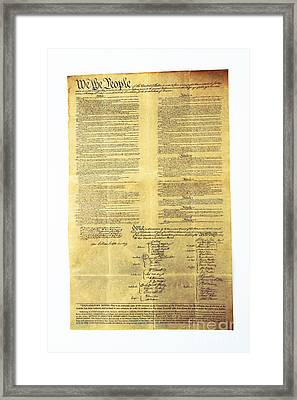 U.s Constitution Framed Print by Photo Researchers, Inc.