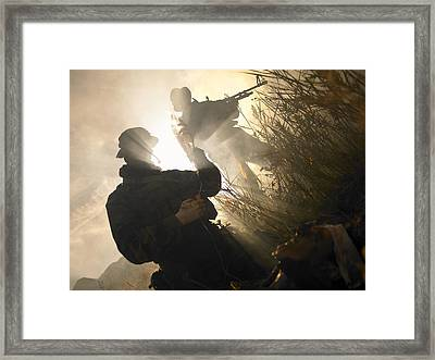 U.s. Navy Seals Give First Aid Framed Print by Tom Weber