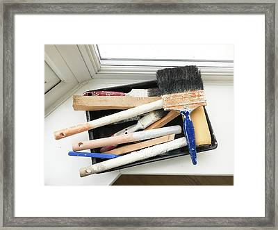 Used Paint Brushes Framed Print