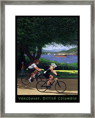 Vancouver Bike Ride Poster Framed Print by Neil Woodward
