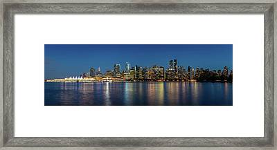Framed Print featuring the photograph Vancouver City Twilight by Pierre Leclerc Photography