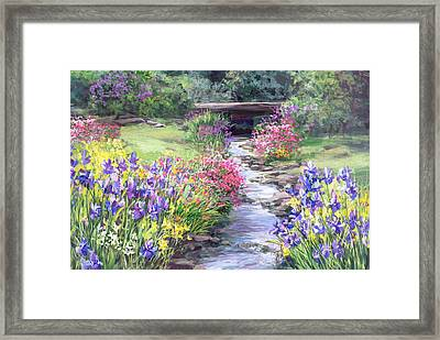 Vandusen Garden Iris Bridge Framed Print by Laurie Hein
