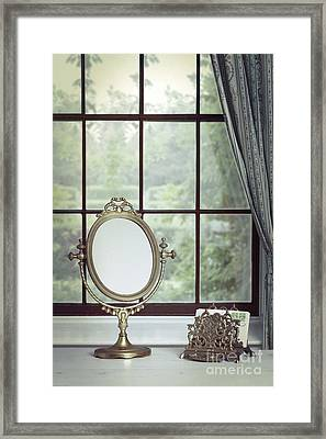 Vanity Mirror In The Window Framed Print